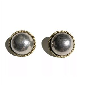 Vtg Mexico Laton Two Tone 925 clip on earrings
